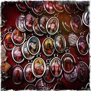 Group of religious medallions Stock Photos