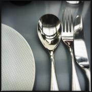 Close up of silverware on table Stock Photos
