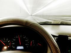 Car driving through tunnel Stock Photos