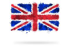 flag of great britain painted with watercolors - stock illustration