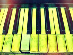 Close up of uneven piano keys Stock Photos