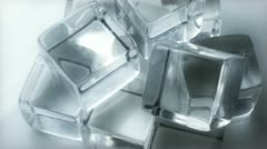 Extreme Close up of Slow Rotating Ice Cubes - stock footage