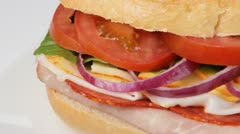 Fresh submarine sandwich Stock Footage