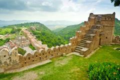 kumbhalgarh fort view - stock photo