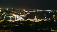 night skyline aerial view at Istanbul City 3 - stock footage