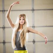 Caucasian dancer practicing in studio - stock photo