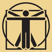 Vector minimalistic vitruvian man Stock Illustration