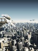 Future City Under Attack Stock Illustration