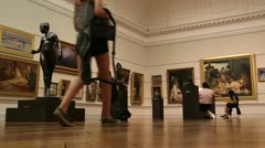 Art students visit famous art gallery (1) - stock footage