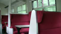 Empty railway carriage seats in motion Stock Footage