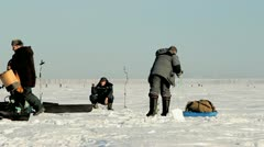Fishermen prepare for winter (subglacial) fishing competitions Stock Footage
