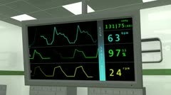 4K Operation Room EKG Monitor 1 Stock Footage