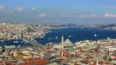 Istanbul Skyline, sea traffic on the Bosporus at Istanbul City, time lapse - stock footage