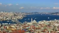 Stock Video Footage of Istanbul Skyline, sea traffic on the Bosporus at Istanbul City, time lapse