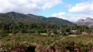 Stock Video Footage of Elterwater and Langdale Pikes in the English lake District