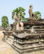 Angkor lions, cambodia Stock Photos