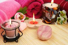 towels, soaps, flowers, candles - stock photo
