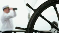 Wooden ship steering wheel Stock Footage