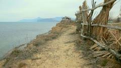 Footpath along the coast - stock footage