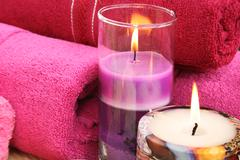 towels and candles - stock photo