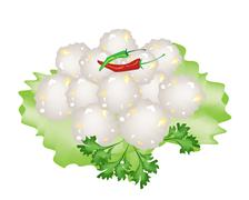 Steamed Sago Palms with Sweet Pork on White Background Stock Illustration