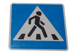 pedestrian crossing sign on street - stock photo