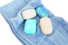 Towels and soaps Stock Photos