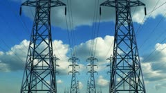 Construction of high voltage towers Stock Footage