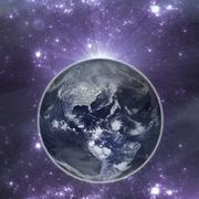 Earth in the night with city lights - stock illustration