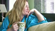 Stock Video Footage of Relaxed  lady with a cup of coffee