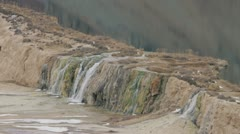 Litlle waterfall on a lake, afghanistan Stock Footage