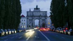 TL day to night with slight zoom-in - Victory Gate Munich - Siegestor Muenchen 2 Stock Footage