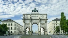 TL with slight zoom-in -  Victory Gate Munich - Siegestor Muenchen 1 Stock Footage