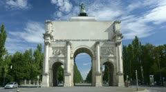 TL  with slight zoom-out - Victory Gate Munich - Siegestor Muenchen 1 Stock Footage