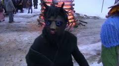 Spring equinox mardi gras  devil mask. Pancake day Stock Footage