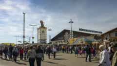TL Oktoberfest Munich - Beer tents and people Stock Footage