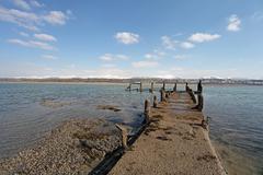 caernarfon from the menai strait - stock photo