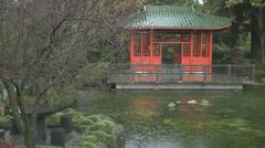 Chinese gardens and pagoda in rain Stock Footage