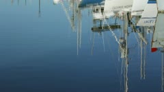 Water Refection of Docked Boats Stock Footage