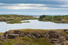 myvatn lake at north iceland at overcast weather - stock photo