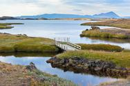 Stock Photo of myvatn lake landscape at north iceland