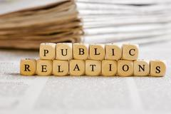 letter dices concept: public relations - stock photo