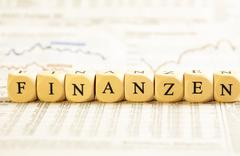 letter dices concept: finanzen (german) - stock photo