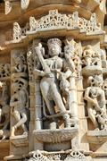 sculpture on hinduism ranakpur temple in india - stock photo