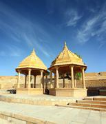 Old jain cenotaph in jaisalmer india Stock Photos