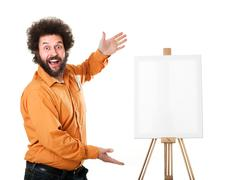 Eccentric painter presenting his new imaginary painting Stock Photos