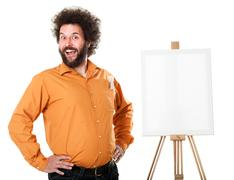 Stock Photo of weird painter in orange shirt