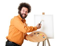 Stock Photo of weird painter starting to paint