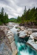 river on sutton pass, vancouver island - stock photo