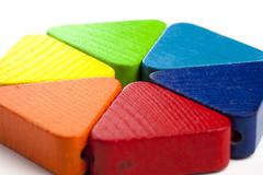 Color hexagon toy for baby and toddler ages Stock Photos